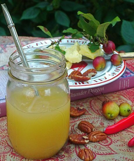 A balmy Indian summer afternoon draws me into the garden, to relax under the crabapple tree with a jar of cold cider spiced with cinnamon, cloves and star anise. With a wedge of sharp cheddar, a few pecans and a good book, you might even skip supper.