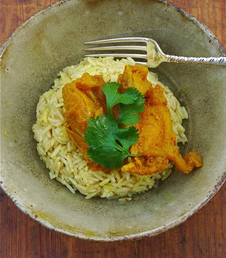Curried chicken for breakfast? Absolutely. There's nothing like sweetly caramelized chicken with cinnamon and curry over turmeric-infused rice to fortify you for a long winter weekend of...closet cleaning.