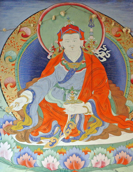 Padmasambhava, from a mural at Para Bridge. Image by Baldiri: Wikimedia Commons