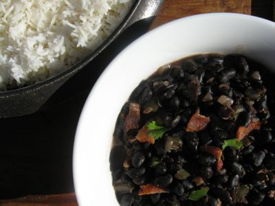 Moros y christianos are a traditional Cuban dish. The black beans represent the dark-skinned Moors, the white rice the lighter-skinned Christians.