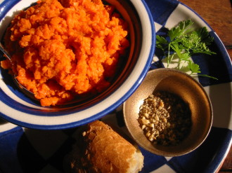 In this recipe from Ana Sortun, carrot puree is served with dukkah, a nutty Egyptian spice mix flavored with cumin and coriander.