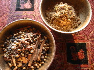 Indian garam masala is made of whole spices--cinnamon, cloves, peppercorns, cumin, coriander and cardamom seeds--which must be ground to fine powder.