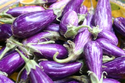 Small Fairytale eggplants become creamy when grilled over a not too hot wood fire. Toss them with your best French extra-virgin olive oil and chopped herbs.