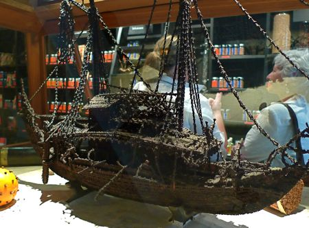 The centerpiece of Olivier Roellinger's Paris shop: A ship constructed of dried cloves. Similiar models are made in the Moluccas, where clove trees were once so abundant that sailors could smell their fragrance many miles out to sea.
