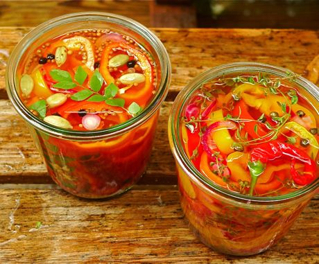 Pickled peppers cooling outside: The Indian-spiced peppers with curry ...
