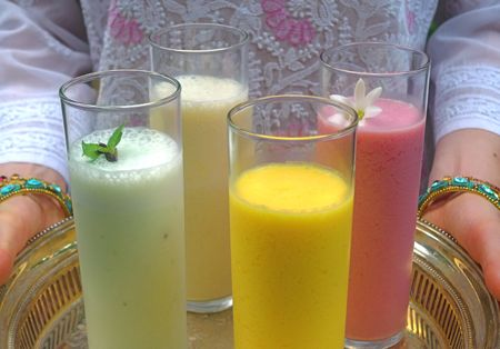 Four luscious yoghurt lassis, plus armloads of sparkly bangles, will get the party started. Flavors include mango, cucumber with roasted fennel seed and Thai basil, cantaloupe and mint, and raspberry-rosewater.