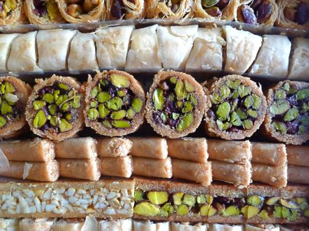 The finale: a box of Syrian sweets from Aleppo, including several stuffed with pistachios.