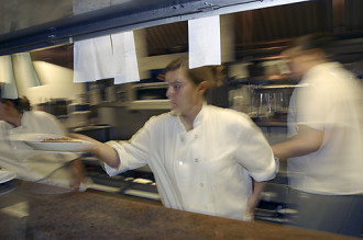 Chef Ana Sortun in the kitchen at Oleana on a busy night.